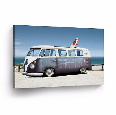 Canvas Wall Art Photo Print VW Classic Vintage Car Bus Camper Volkswagen VWH64
