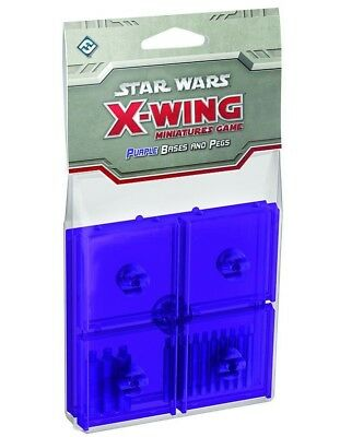 Star Wars X-wing PURPLE CLEAR BASES AND PEGS Expansion Pack Base Upgrade 5 Base