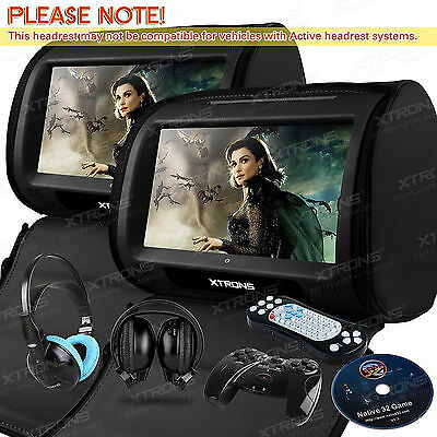 "Dual 9"" Black Car Headrest Monitors w/DVD Player/USB/HDMI+Games +IR Headphones"