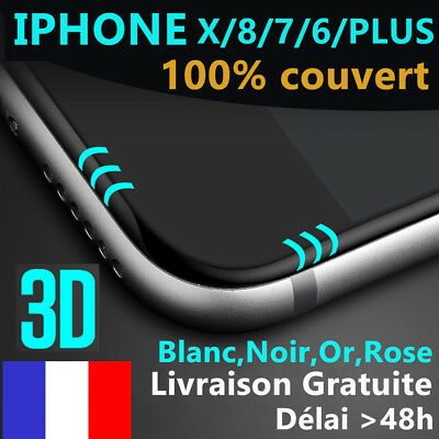 iPhone 6S/6/7/Plus 8/X/XR/XSMAX VITRE VERRE TREMPE 3D Film Protection Ecran Full