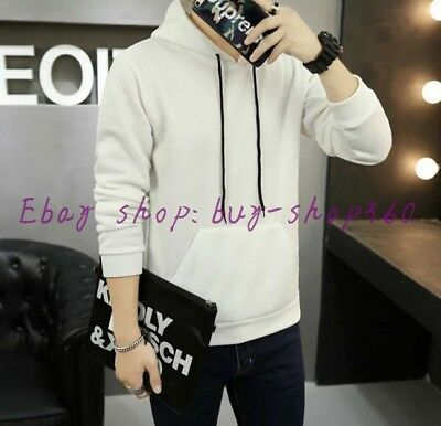 Spring Autumn Fashion Men's Pure Color Long Sleeve Set Head Hooded Sweaters