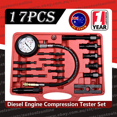 17pcs Diesel Direct and Indirect Engine Compression Pressure Tester Gauge