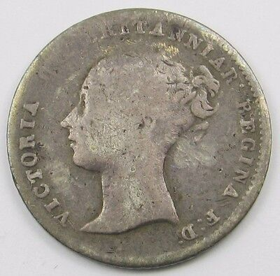 QUEEN VICTORIA YOUNG HEAD SILVER FOURPENCE / GROAT COIN dated 1846
