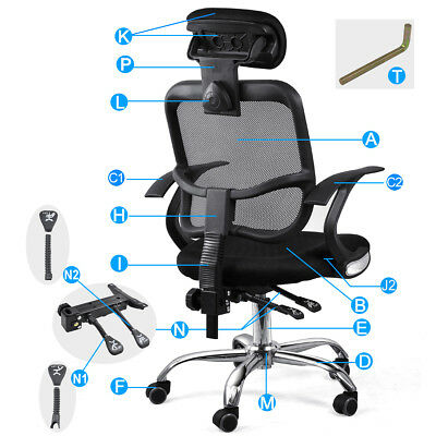Adjustable Mesh Office Chair Executive Computer Desk Chair Ventilate Padded Seat