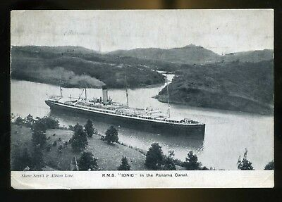 1934 RMS Iconic in Panama Canal written at  Pitcairn Island Postcard + menu card