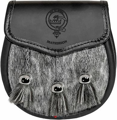 Luggage Wallets Spittal Leather Day Sporran Scottish Clan Crest