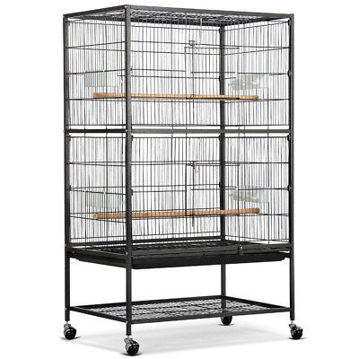 131cm Black Large Parrot Bird Finch Wrought Iron Flight Cage With Perch Stand