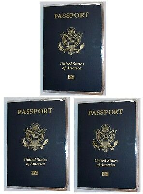 USA Quality Fast Ship 3x Passport Clear Vinyl Cover Protector Holder