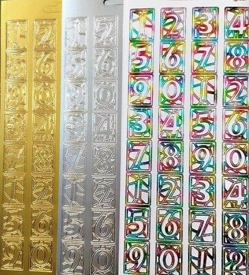 Stained Glass Style Large Numbers Peel Off Stickers Card Making Craft 3 Colours