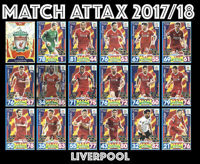 Match Attax 2017/18 17/18 Full 18 Card Team Set Liverpool