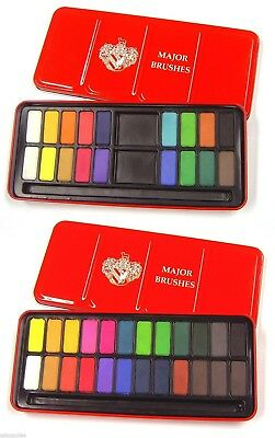 Artist Watercolour Ready Mixed Paint Tins Sets of 12,18,24 Colours Available