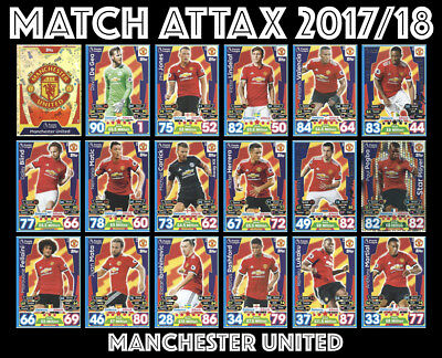 Match Attax 2017/18 17/18 Full 18 Card Team Set Manchester United