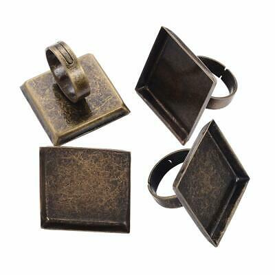 5pcs Antique Bronze Adjustable Brass Pad Ring Bases Blank Jewelry Making 25mm