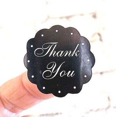 Thank You Stickers Labels Circle pack 100 Blackboard