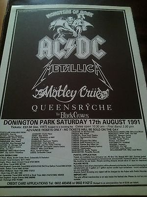 Monsters of Rock 1991 AC/DC Metallica Queensryche Original Kerrang 1 Page Poster