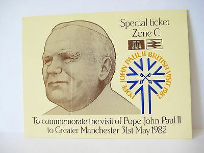 Pope John Paul II Papal Visit To Manchester May 1982 Entrance Ticket