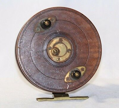 Large VINTAGE Wood Brass Star Back Fishing REEL Slater Style Quick Spool Release