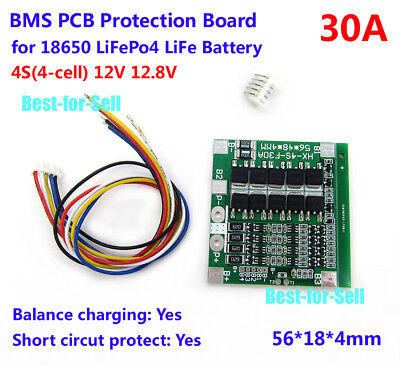 4S 30A 12V BMS Protection Balance PCB Board For LiFePo4 LiFe 18650 Battery Cells