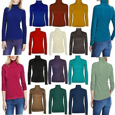 Ladies Long Sleeve Polo Roll Neck Jumper Top Womens Turtle Neck Plain Jumper