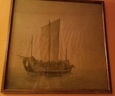 Antique  Fishermen Fishing Boat etching on silk