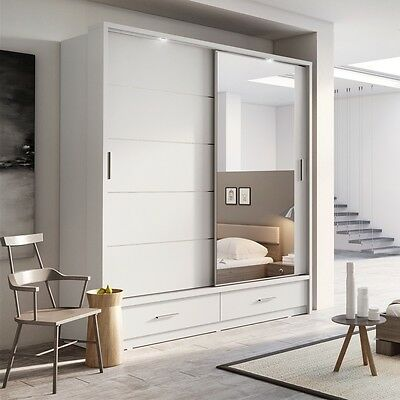 Brand New Modern Bedroom Mirror Sliding Door Wardrobe ARTI 5 200cm in Matt White
