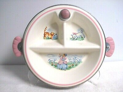 Vtg ceramic serving warming divided plate dish LITTLE BO BEEP PINK insulalated