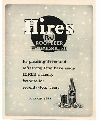 1943 HIRES ROOT BEER Family Favorite for 75 Years VTG PRINT AD