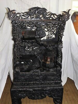 Antique Japanese Curio Cabinet Monumentally Carved Stunning Details