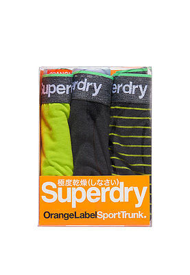 Superdry Three Pack Boxer Shorts Men Sports Trunk Stripe Triple Dark Smoke Size