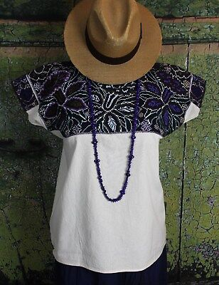 Hand Embroidered Orchid Huipil El Bosque Chiapas Mexican Hippie Cowgirl Fiesta
