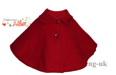 *AW17* Gorgeous Baby Girl Spanish Red Cape with Bow/Romany/up to 36 M