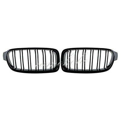 Gloss Black For BMW F30 F31 2012-2018 3 Series Twin FIns Front Kindey Grille