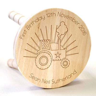 Personalised Tractor Wooden Stool Childrens Bedroom Home Furniture Kids Gift New