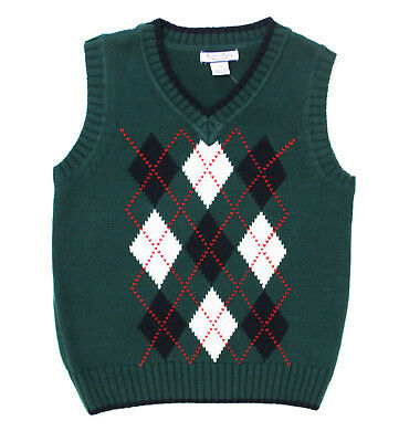 NWT Hartstrings Boys' Knit Argyle Sweater Vest in Green ~ Size 3T 4 5/6