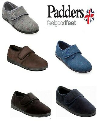 Mens Padders Soft Microsuede Touch Fastening Slippers Shoes Charles UK 6 - 13