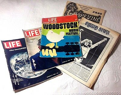 Lot of 3 LIFE Magazine 1969-70 Special Edition WOODSTOCK 69 + Rolling Stone 1970