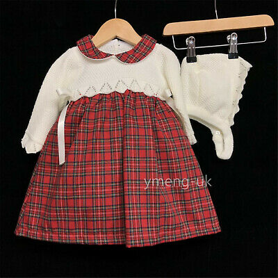 *AW17* Baby Girl Spanish Red Checked Dress &Bonnet/Knitted Top/Romany/Winter