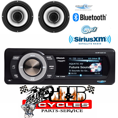 """Aquatic AV Direct Fit SiriusXM Stereo With 6.5"""" Speakers For Harley 1998-2013"""