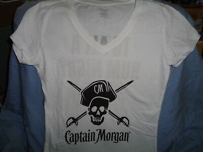 """Captain Morgan Rum """"to All A Rum Night"""" V-Neck T Shirt Bartender Top Small New!"""