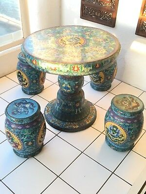 + ~1910-40 Qing Dynasty Masterpiece Blue Dragon Chinese Cloisonne Table Chairs+
