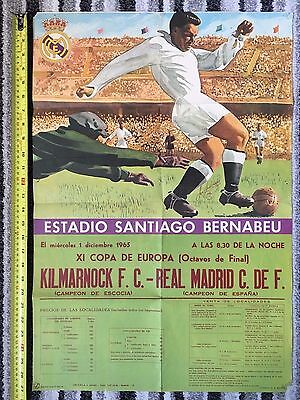 1965/66 EUROPEAN CUP Real Madrid v Kilmarnock (RARE Official Match Poster)