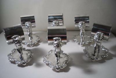 Set of Six Good Quality Quadruple Silver Plated 'Cherub' Napkin Rings #2 : c1875