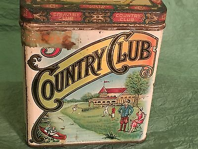 Antique Country Club Tobacco Cigar Tin  Early Tin With Golf Tennis Scene