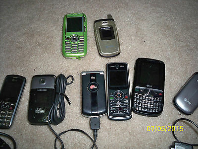 Lot of 8 virgin mobile, trac, At&T untested parts or repair Old Cell phone