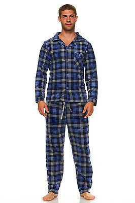 Men Fleece Pajama Set, Classic Premium Plaid Flannel Lounge Pajama Pant