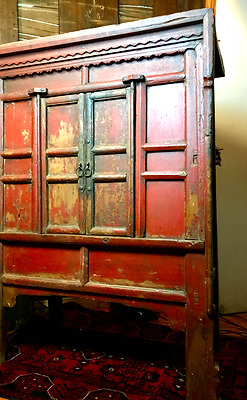 Chinese Antique Solid Wood Hand Carving Armoire Cabinet | Early Red Armoire.