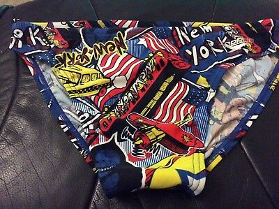 Speedo Mens 5cm swim briefs New York City all over print. New without tags. 34""