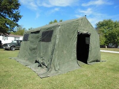 Military Base X Tent 303 Army Surplus 270 Sq-Ft  No Liner Yes Floor Camping Hunt