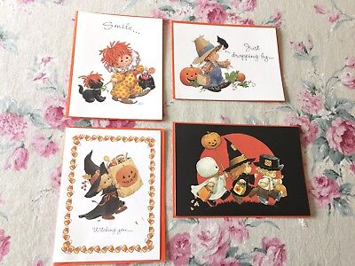 4 UNUSED Vintage RUTH or BILL MOREHEAD Teenie Halloweenies HALLOWEEN CARDS *Cute