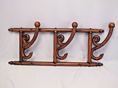 Antique Victorian Bentwood Swing Arm Coat and Hat Wall Rack in Compact Size